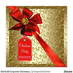 Red gold ornaments corporate christmas party card red gold corporate christmas party 525x525 square paper invitation card stopboris Image collections