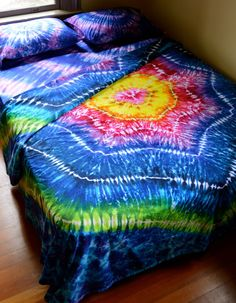 Hand Dyed Sheet Set Queen Size Tie Dye Bedding by Wildflowerdyes