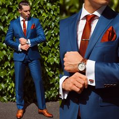 blue suit that color, the deep reddish brown accents in the shoes, tie, pocket square and watch, in addition to the burnished gold looking tie bar, cufflinks and buttons, put together an awesome look.