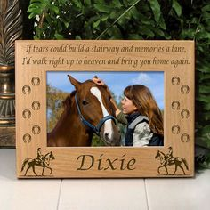 Cowgirl Memorial Horse Picture Frame