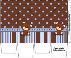 Caixa de Leite Ursinho Marrom e Azul: