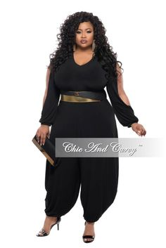 New Plus Size Jumpsuit with Genie Split Sleeves and Leg in Black