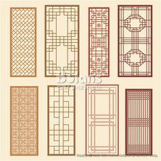 한국의 전통 창틀 무늬문양 세트. 한국 전통문양 패턴디자인. (BPTD020221) Korean old of Window Frame…