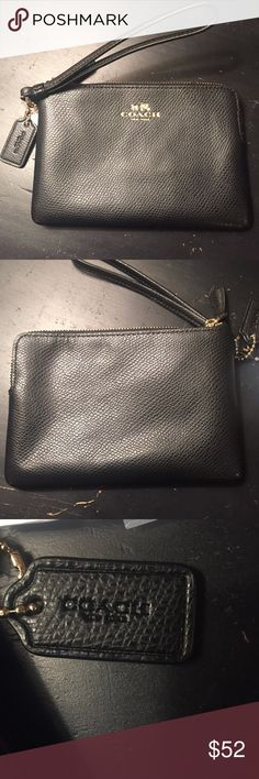 *Coach* Coach black leather wristlet with gold accents, brand new, never been used. Coach Bags Clutches & Wristlets