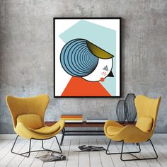 The lady geometric art poster scandinavian design by FLATOWL