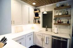 Gallery of open shelving kitchen ideas including decorating tips with a variety of design styles. See pictures of kitchens with open shelving. Open Shelving, Kitchen Design Small, Small Kitchen, Beach House Kitchens, Open Kitchen Shelves, Decorating Shelves, White Cabinetry, Kitchen Design, Shelving
