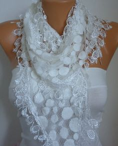 Creamy White Lace Scarf -  Shawl Scarf -  Women Scarves - Bridesmaid gift -  fatwoman via Etsy
