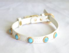 Genuine Turquoise Pebbies Faceted Leather Dog Collar by Dosha Dog #dogcollar