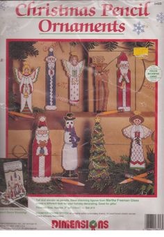Christmas Pencil Ornaments Counted Cross Stitch Kit Dimensions 8453 Set of 9  #Dimensions #Ornaments