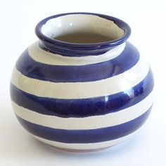 Hostess gift idea: Blue Striped Round Vase by Talavera Vazquez. $46 #Mexico #pottery #ceramics #stripes