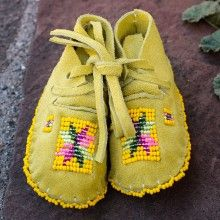YELLOW GREEN  LEATHER BEADED BABY MOCCASINS by JANET WHITEMAN - CHEYENNE
