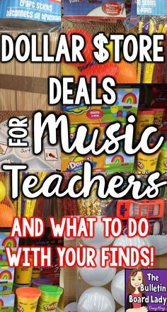 Dollar Store Deals for Music Teachers –Learn about 13 must have dollar store finds for your music classroom. Ideas for assessment, workstations, DIY crafts, singing games and manipulatives are discussed in this post by a veteran music teacher. Elementary Music Lessons, Piano Lessons, Preschool Music Lessons, Elementary Schools, Music Lessons For Kids, Middle School Music, Music Lesson Plans, Music Station, Piano Teaching