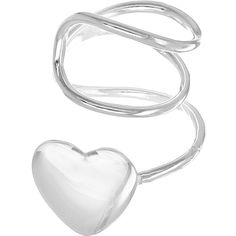 The Love Silver Collection Sterling Silver Heart Ear Cuff (1.315 RUB) ❤ liked on Polyvore featuring jewelry, earrings, silver jewelry, earring ear cuff, silver heart earrings, ear cuff and heart jewelry