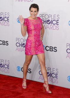 People's Choice Awards Red Carpet: Lea Michele sparkled in pink at the People's Choice Awards.