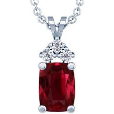 Platinum Cushion Cut Ruby And Round Diamond Pendant