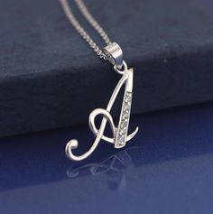 Initial Necklace Sterling Silver Initial Necklace by Alyssasdreams
