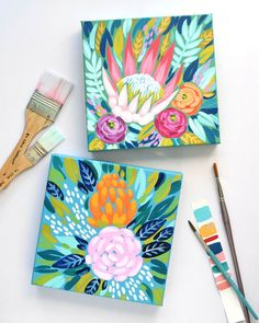 Sending these two off to their new homes What shape of flower do you gravitate most toward: soft and round or more angular? Im definitely into angular proteas if you cant tell Mini Canvas Art, Mini Paintings, Floral Paintings, Hanging Art, Acrylic Art, Painting Inspiration, Diy Art, Art Lessons, Flower Art