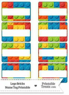 """Enjoy this set of cute Lego bricks name tags you can use for parties, labeling things, or as gift tags. These Lego bricks name tags are decorated with a pattern of random shaped """"Lego"""" Lego Classroom Theme, Classroom Door, Classroom Name Tags, Printable Name Tags, Printable Templates, Name Tag Templates, Lego Club, Lego Activities, Lego Mecha"""