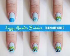Chalkboard Nails: Fuzzy Monster Buddies tutorial #iheartnailart
