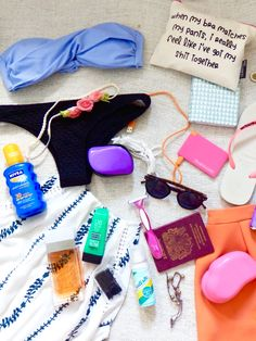 The 1 Week holiday packing guide! Bikinis, check, sun cream, check and fun make up bags, check! Via Queen of the LBD