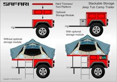 Bolt-together fiberglass Jeep-tub trailer kit - Page 59 Jeep Tent, Truck Tent, Jeep Camping, Tent Campers, Small Campers, Trailer Kits, Car Trailer, Utility Trailer, Trailer Build