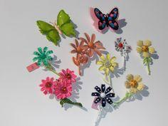 Vintage Retro Enamel Flower Power Butterfly Spring Brooch Pin Lot NOS