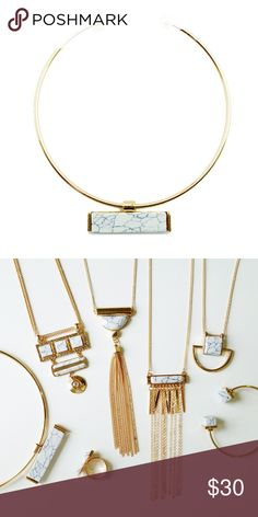 """Modern White Marbled Stone Choker T&J Designs EXCLUSIVE  A modern choker featuring a white rectangle resin marble pendant and pearl detailing. Adjustable choker - you can squeeze or pull to fit your neck. 5.25"""" diameter. Jewelry Necklaces"""