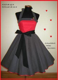 Petticoatkleid rote Herzen von Schneiderei Heike Borchers auf DaWanda.com