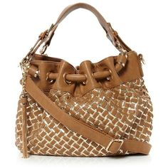 Dune gold-plain synthetic dolitaweave metallic weave pouch bag ($105) ❤ liked on Polyvore