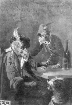 """""""Two monkeys and a dog, drinking"""", Noterman, Zacharie ; Stadhuis[Brugge] ; Brugge[deelgemeente]"""