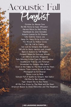 Acoustic Fall Playlist - Spotify Link Included Fall Playlist, Vance Joy, Neil Young, Lifestyle Group, In A Heartbeat, Acoustic, Laughing, Blogging, Daughter
