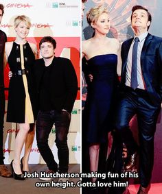 Josh Hutcherson making fun of his own height.