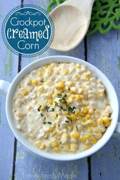 The perfect side dish for the holidays! Crockpot Creamed Corn - Family Fresh Meals #food #recipes
