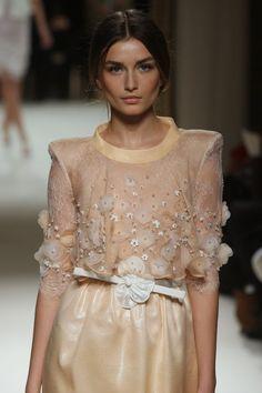Wedding dress: peach. cream.