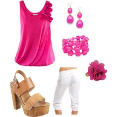 love the hot pink top... the shoes aren't me but like the rest
