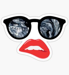 Lips and Sunglasses - Marble Sticker