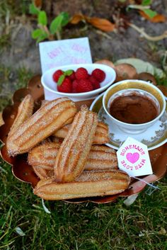 Baked Churros with Rich Hot Chocolate Dipping Sauce