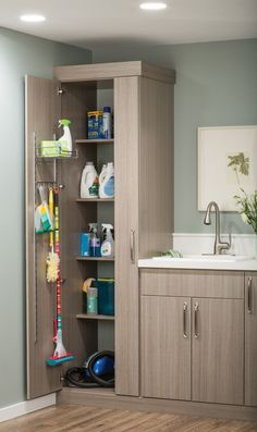 Use the back of the CLOSET door. By making these shelves shallower than the depth of the cabinet, there is room to hang brooms and mops and even install shelves for cleaning supplies on the inside of the door.