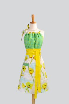 Cute Apron with gathered bodice , via Etsy.