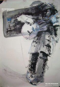 """""""Guitarrista"""", grafito, tinta xilográfica y pasteles -  Héctor Romanzini - Estudio para una obra mayor destruída, de 1995."""