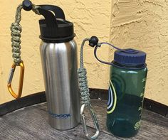 Survival Paracord Water Bottle Holder. Hang from your belt loops or from your backpack. Great for School Kids. Toggle slides up and down paracord to hold items. Can fit regular water bottle or gatorade bottle. Can also attach to refillable bottles (Picture 5). Can be used with