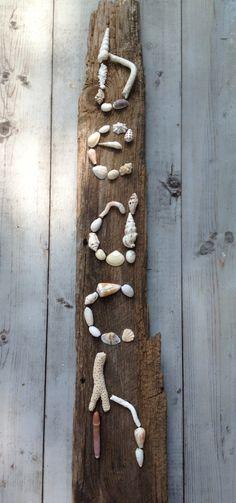 BEACH word art/Seashell art/Barn Wood Art/Beach by MyHoneypickles
