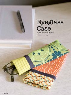 Favorite Sewing Projects This fun eyeglass case can be made in one day in any of your favorite fabrics. Video tutorial and digital pattern available for this fun little project! Diy And Crafts Sewing, Easy Sewing Projects, Quilting Projects, Sewing Hacks, Sewing Tutorials, Fabric Crafts, Sewing Ideas, Fabric Art, Video Tutorials