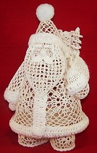 Crochet Santa Figurine Starched White Christmas Winter Holiday