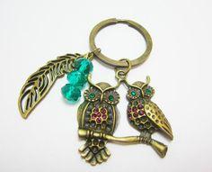 Emerald Green Gem Eye Bronze Owls Charm by WhispySnowAngel on Etsy, $9.95