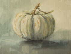 Small white pumpkin -oil painting