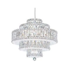 """Schonbek 6673 21"""" Wide 22 Light Pendant from the Plaza Collection ($3,971) ❤ liked on Polyvore featuring home, lighting, ceiling lights, indoor lighting, pendants, stainless steel, incandescent lights, square lamp, chain light and schonbek chandelier"""