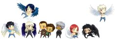 Raphael, Illium, Elena, Dmitri, Venom, Naasir, Galem, Jason and Aodhan.. Guild Hunter series by Nalini Singh