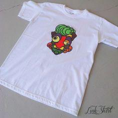#tshirts #new #summer #2013 #handmade #madeinitaly #fashion #linkshirt #white #man #face #green #comics