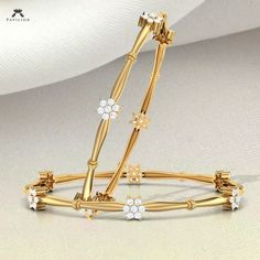 A Beautiful designed Quincy Diamond Bangle at lowest price. Buy Daily Wear Diamond Bangles for women with IGI certified diamond. Gold Bangles For Women, Gold Bangles Design, Gold Earrings Designs, Gold Jewellery Design, Antique Gold Rings, Gold Temple Jewellery, Gold Jewelry Simple, Gold Accessories, Diamond Bangle